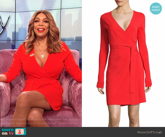 Long-Sleeve Knit Wrap Dress by Diane von Furstenberg worn by Wendy Williams  on The Wendy Williams Show