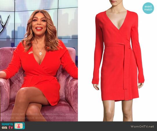 Long-Sleeve Knit Wrap Dress by Diane von Furstenberg worn by Wendy Williams on The Wendy Williams Show