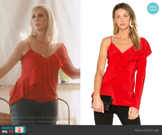 Ruffle Front Top by Diane von Furstenberg worn by Vicki Gunvalson on The Real Housewives of Orange County