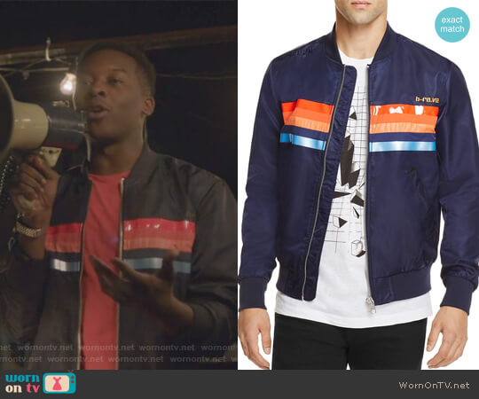 J-Slater Striped Bomber Jacket by Diesel worn by Courtney Rose (Brandon Micheal Hall) on The Mayor