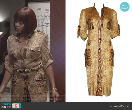 Python Snakeskin Lace Tortoise Dress by Dolce & Gabbana worn by Taraji P. Henson on Empire
