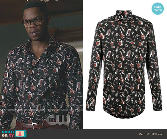 Musical Instrument Print Shirt by Dolce & Gabbana worn by Jeff Colby (Sam Adegoke) on Dynasty