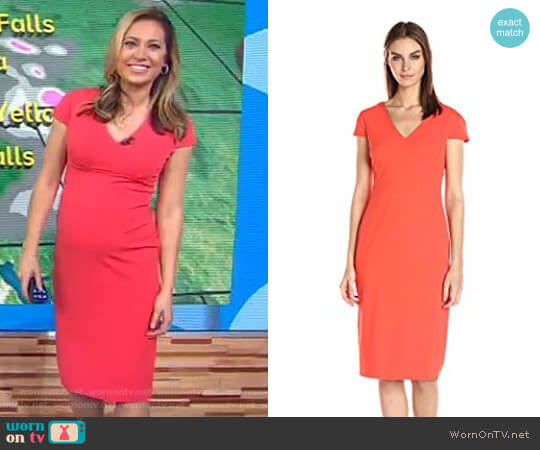 Cap Sleeve Fitted Stretch Crepe Sheath Dress by Donna Morgan worn by Ginger Zee  on Good Morning America