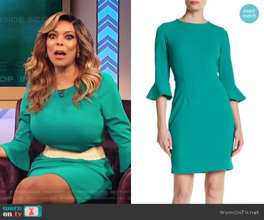 Ruffle Cuff Sheath Dress by Donna Morgan worn by Wendy Williams  on The Wendy Williams Show