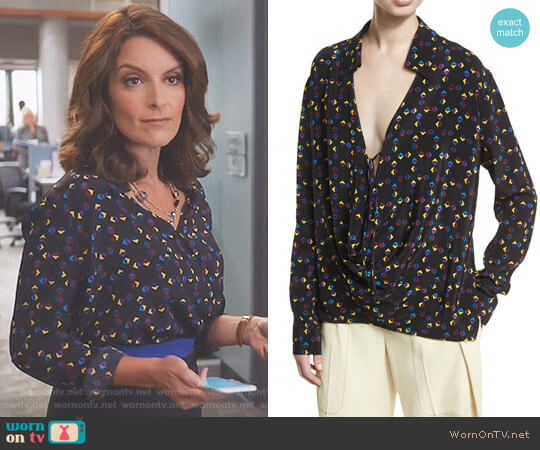 Cuneiform-Print Collared Silk Drape Blouse by Derek Lam worn by Tina Fey on Great News
