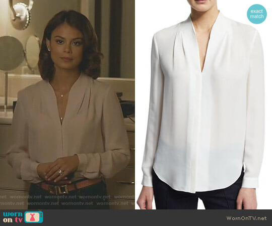 Judith Long-Sleeve V-Neck Silk Blouse by Elie Tahari worn by Nathalie Kelley on Dynasty