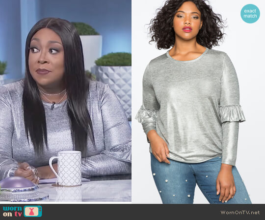 Metallic Ruffle Long Sleeve Tee by Eloquii worn by Loni Love  on The Real
