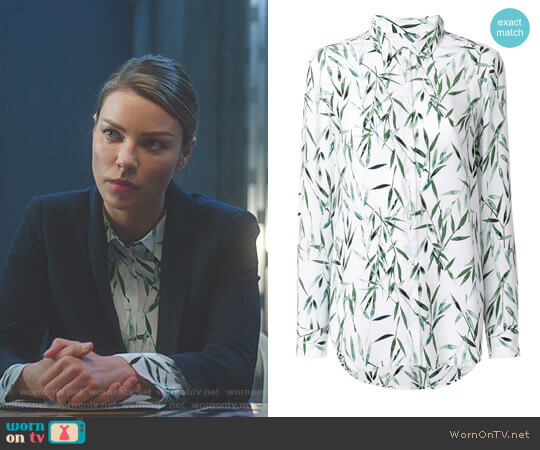 Bamboo Print Blouse by Equipment worn by Lauren German on Lucifer
