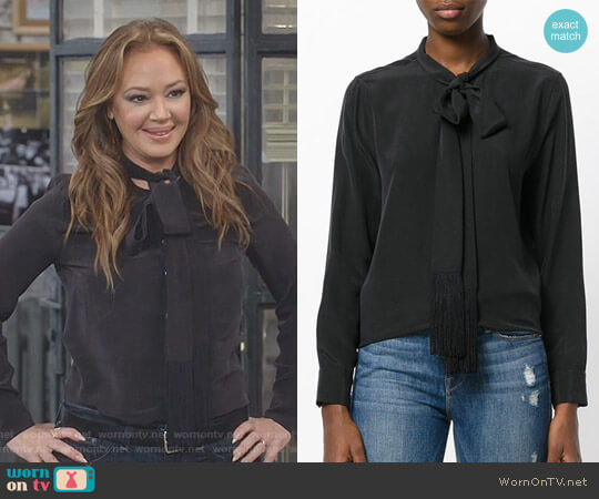Tie Neck Blouse with Fringe Detail by Equipment worn by Leah Remini on Kevin Can Wait
