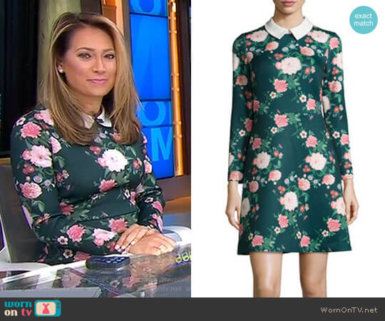 Mila Collared Floral-Print Cocktail Dress by Erin Fetherston worn by Ginger Zee on Good Morning America