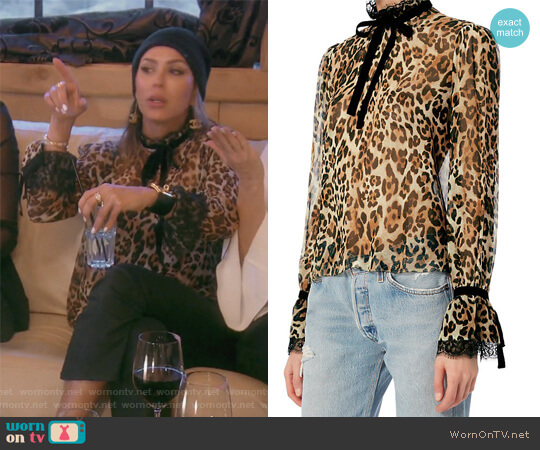 Dia Leopard Print Blouse by Exclusive for Intermix worn by Kelly Dodd  on The Real Housewives of Orange County