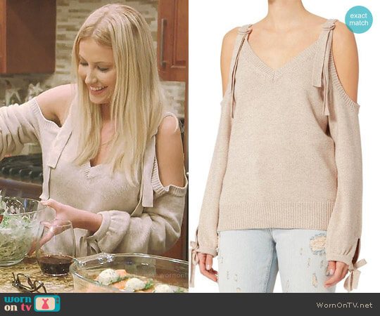'Sia' Cold Shoulder Sweater by Exclusive For Intermix worn by Stephanie Hollman on The Real Housewives of Dallas