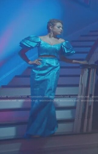 Fallon's blue 80s gown on Dynasty