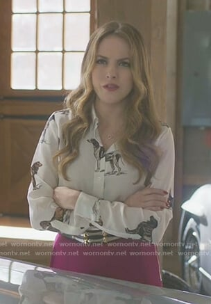 Fallon's white dog print blouse on Dynasty