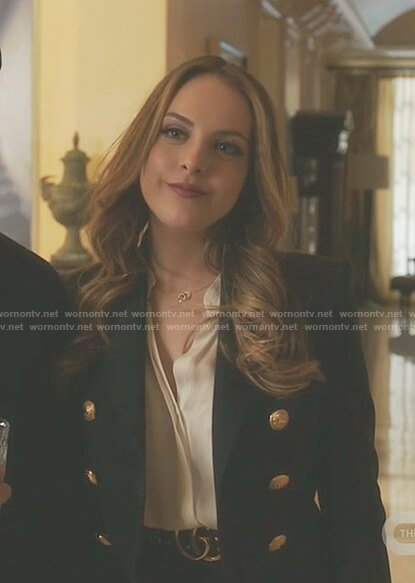 Fallon's navy double breasted blazer on Dynasty