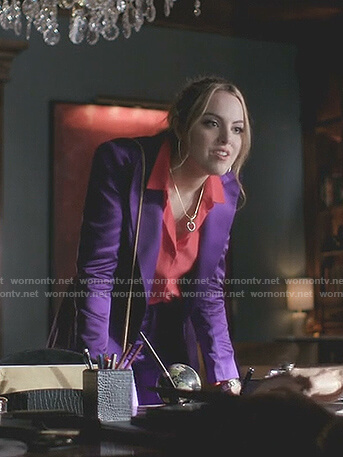 Fallon's red ruffle cuff blouse and purple suit on Dynasty