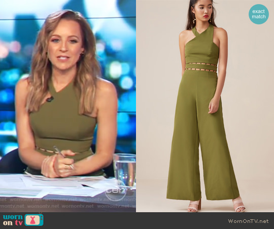 Solar Jumpsuit by Finders Keepers worn by Carrie Bickmore on The Project