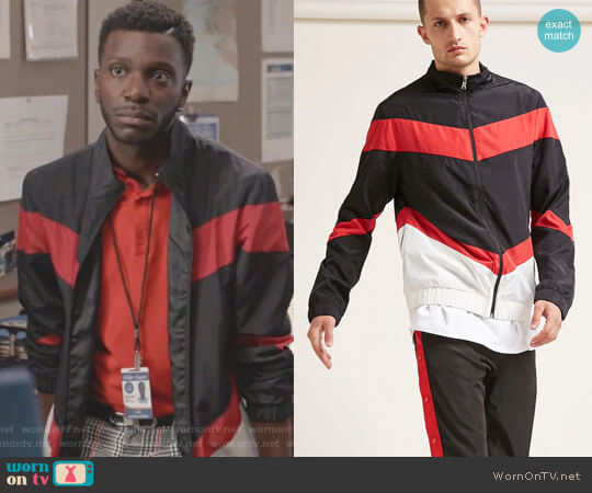 Colorblock Windbreaker Jacket by Forever 21 worn by Bernard David Jones on The Mayor