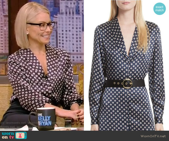 Print Silk Blouse by Frame worn by Kelly Ripa on Live with Kelly & Ryan