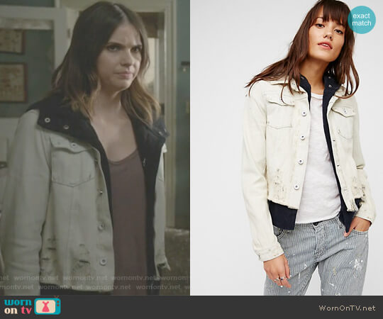 Double Weave Denim Jacket by Free People worn by Malia Tate (Shelley Hennig) on Teen Wolf