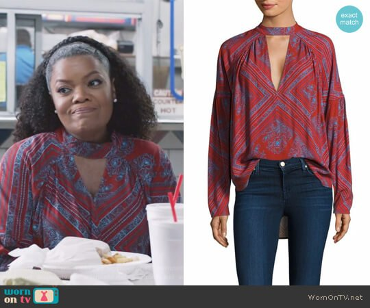 Patterned Choker Top by Free People worn by Yvette Nicole Brown on The Mayor