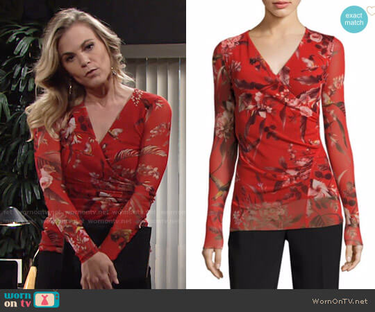 Fuzzi Humming Bird Print Surplice Top worn by Phyllis Newman (Gina Tognoni) on The Young & the Restless