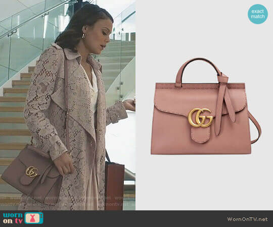 GG Marmont Top Handle Bag by Gucci worn by Cristal Flores (Nathalie Kelley) on Dynasty