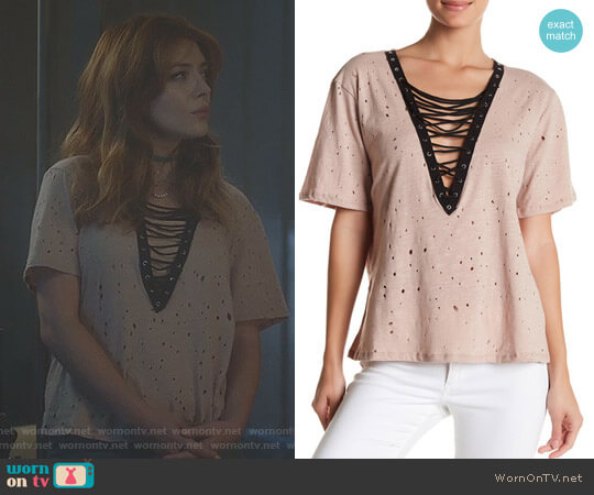 Lace-Up Deep V Tee by Gypsies & Moondust worn by Elena Satine on The Gifted