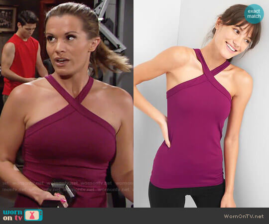 GapFit Halter-neck Shelf Tank in Exotic Fuchsia worn by Chelsea Lawson (Melissa Claire Egan) on The Young & the Restless
