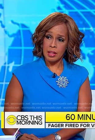 Gayle's blue round collar dress on CBS This Morning