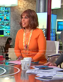 Gayle's orange ribbed dress on CBS This Morning