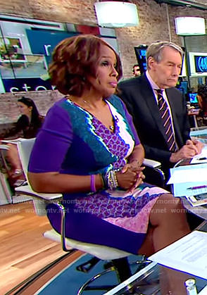 Gayle's mixed print sheath dress on CBS This Morning