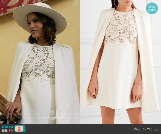 Giambattista Valli Convertible guipure lace-paneled crepe dress worn by Cristal Flores (Nathalie Kelley) on Dynasty