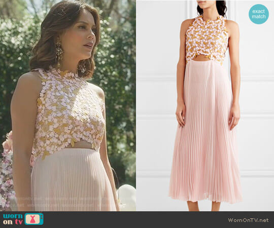 'Guipure' Lace and Pleated Midi Dress by Giambattista Valli worn by Cristal Flores (Nathalie Kelley) on Dynasty