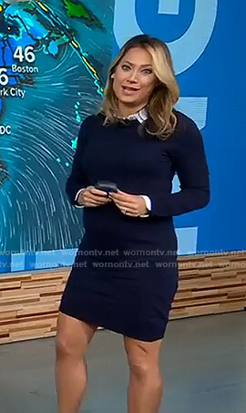 Ginger's navy maternity collared dress on Good Morning America