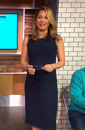 Ginger's navy sleeveless sheath dress on Good Morning America