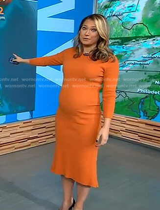 Ginger's orange ruffle hem dress on Good Morning America
