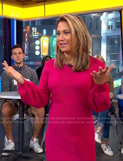 Ginger's pink balloon sleeve dress on Good Morning America