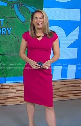 Ginger's pink v-neck cap sleeve dress on Good Morning America