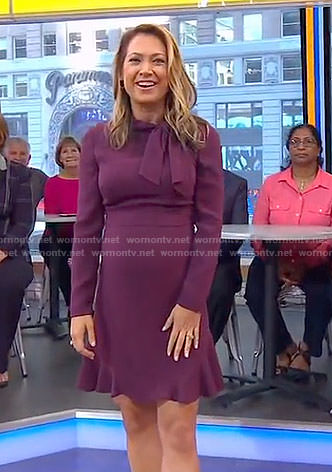 Ginger's purple tie neck dress on Good Morning America