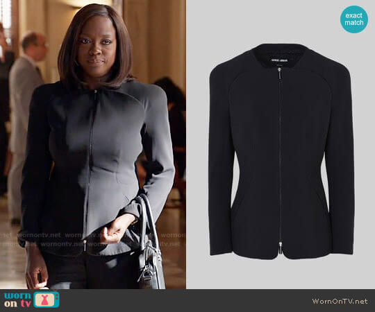 Giorgio Armani Single Breasted Silk Cady Jacket worn by Annalise Keating (Viola Davis) on HTGAWM