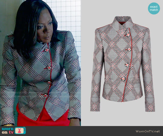 Giorgio Armani Single Breasted Wool Jacquard Jacket worn by Viola Davis on HTGAWM