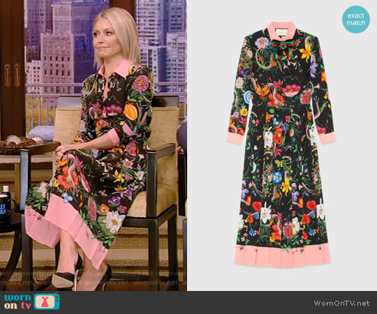 Floral Snake Print Silk Dress by Gucci worn by Kelly Ripa on Live with Kelly & Ryan