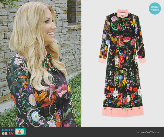 Floral Snake Print Silk Dress by Gucci worn by Stephanie Hollman  on The Real Housewives of Dallas
