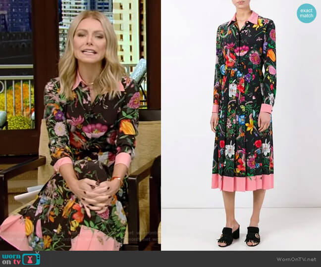 c6e78351d Floral Snake Print Silk Dress by Gucci worn by Kelly Ripa on Live with  Kelly &