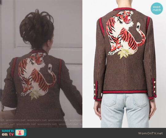GG Bengal tiger back jacket by Gucci worn by Karen Walker (Megan Mullally) on Will & Grace