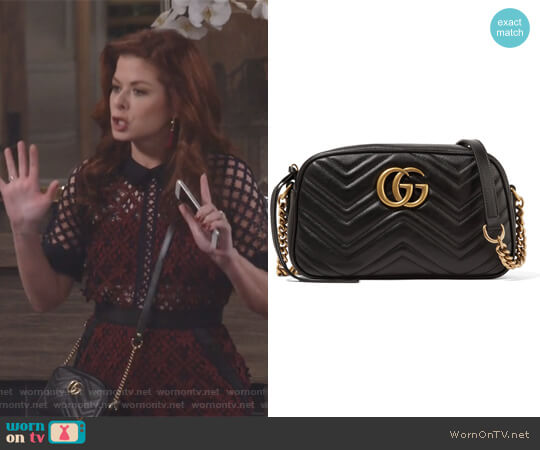 GG Marmont Camera small quilted leather shoulder bag by Gucci worn by Grace Adler (Debra Messing) on Will & Grace