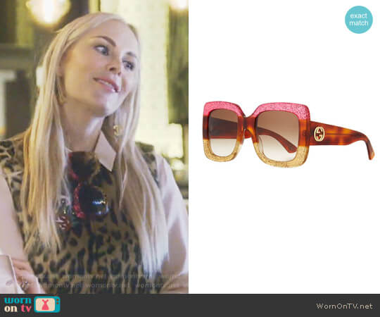 Glittered Gradient Oversized Square Sunglasses Gucci worn by Kameron Westcott (Kameron Westcott) on The Real Housewives of Dallas