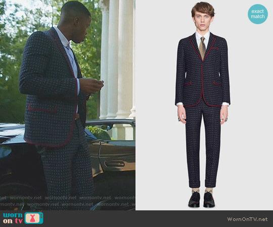 Monaco Geometric Pattern Wool Suit by Gucci worn by Jeff Colby (Sam Adegoke) on Dynasty