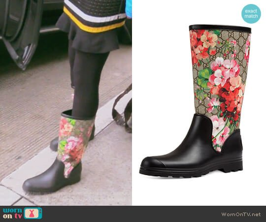 Prato GG Blooms Rain Boots by Gucci worn by Kelly Dodd on The Real Housewives of Orange County